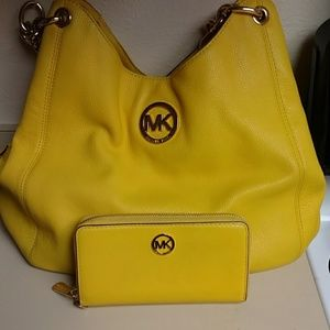 Yellow Michael Kors Purse and Wallet